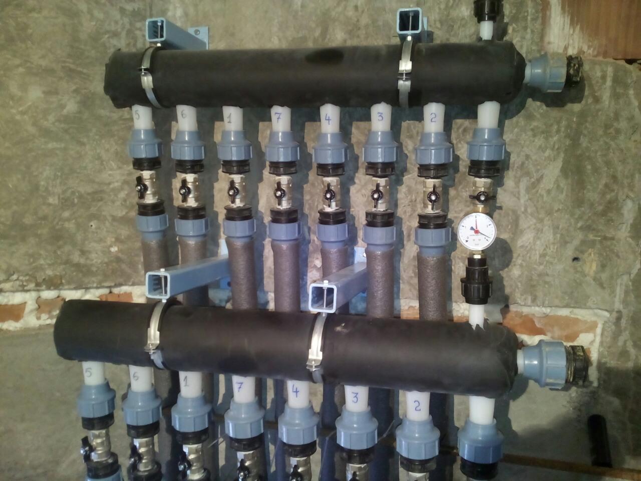 Розподільчий колектор для грунтового контуру для теплового насоса грунт вода